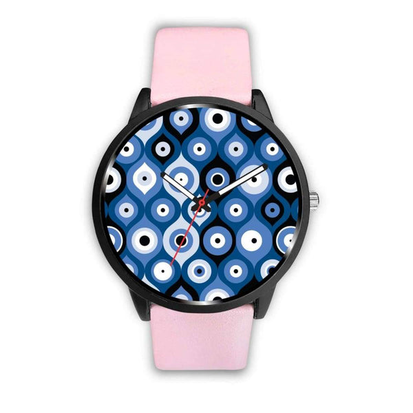 Evil Eye Geometric Design Multi Turkish Evil Eye Pattern Custom-Designed Wrist Watch - Mens 40Mm / Pink - Watch