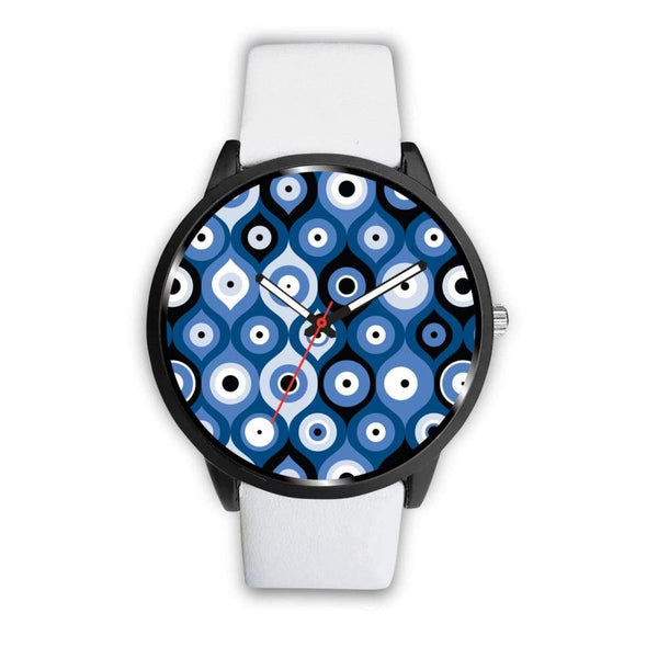 Evil Eye Geometric Design Multi Turkish Evil Eye Pattern Custom-Designed Wrist Watch - Mens 40Mm / White - Watch