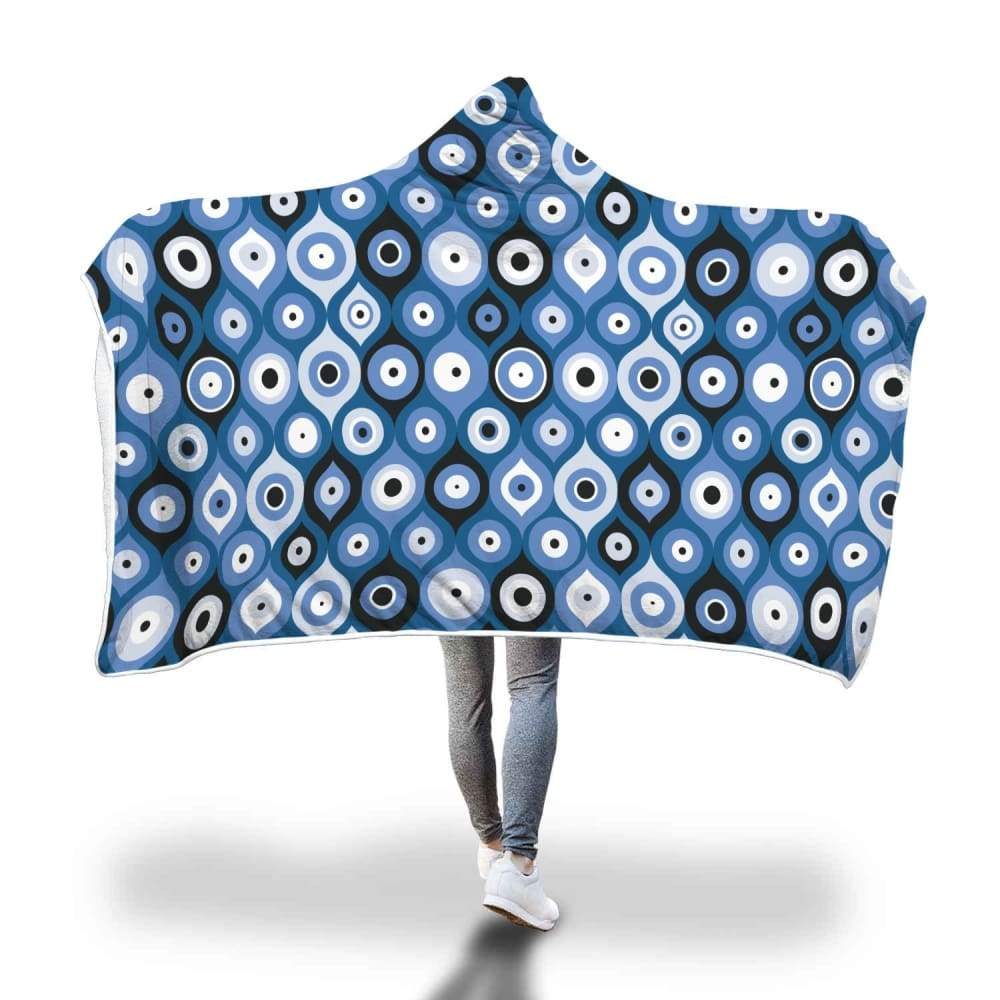 Evil Eye Geometric Design Multi Turkish Evil Eye Pattern Hooded Snuggle Meditation Blanket - Hooded Blanket