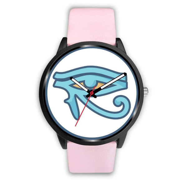 Eye Of Horus Ancient Egyptian Symbol Custom-Designed Wrist Watch - Mens 40Mm / Pink Leather - Black Watch