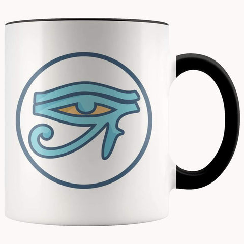 Eye Of Ra Ancient Egyptian Symbol 11Oz. Ceramic White Mug - Black - Drinkware