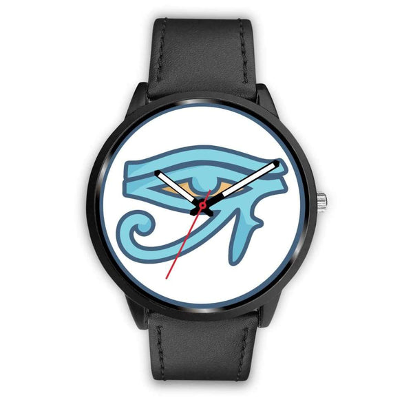 Eye Of Ra Ancient Egyptian Symbol Custom-Designed Wrist Watch - Mens 40Mm / Black Leather - Black Watch