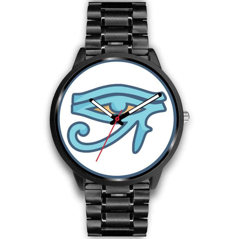 Eye Of Ra Ancient Egyptian Symbol Custom-Designed Wrist Watch - Mens 40Mm / Black Metal Link - Black Watch