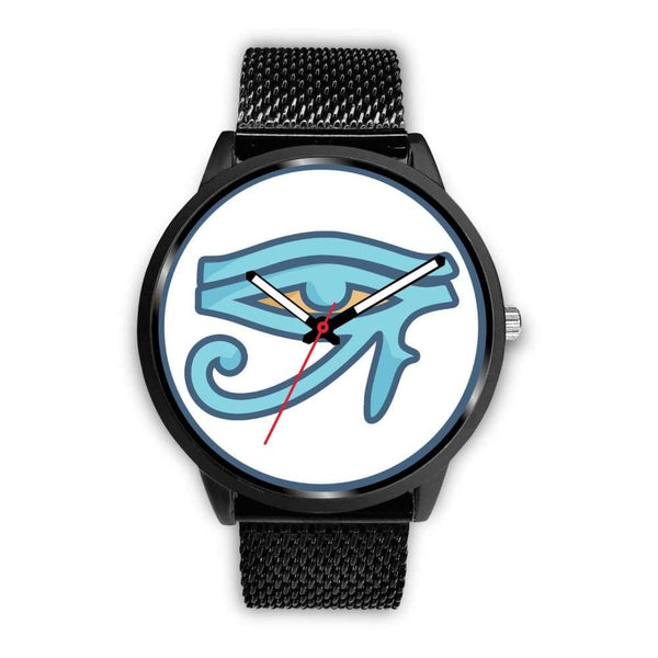 Eye Of Ra Ancient Egyptian Symbol Custom-Designed Wrist Watch - Mens 40Mm / Black Metal Mesh - Black Watch