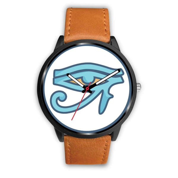 Eye Of Ra Ancient Egyptian Symbol Custom-Designed Wrist Watch - Mens 40Mm / Brown Leather - Black Watch