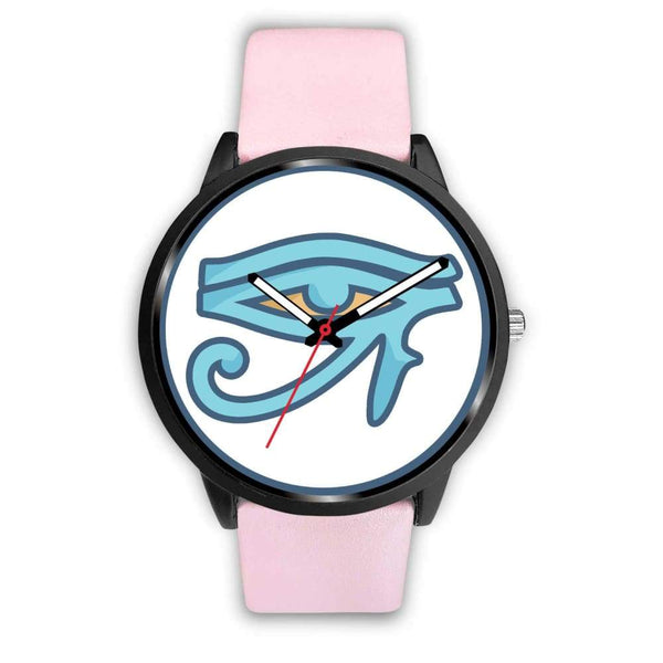 Eye Of Ra Ancient Egyptian Symbol Custom-Designed Wrist Watch - Mens 40Mm / Pink Leather - Black Watch