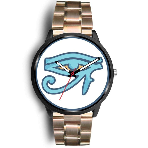 Eye Of Ra Ancient Egyptian Symbol Custom-Designed Wrist Watch - Mens 40Mm / Rose Gold Metal Link - Black Watch
