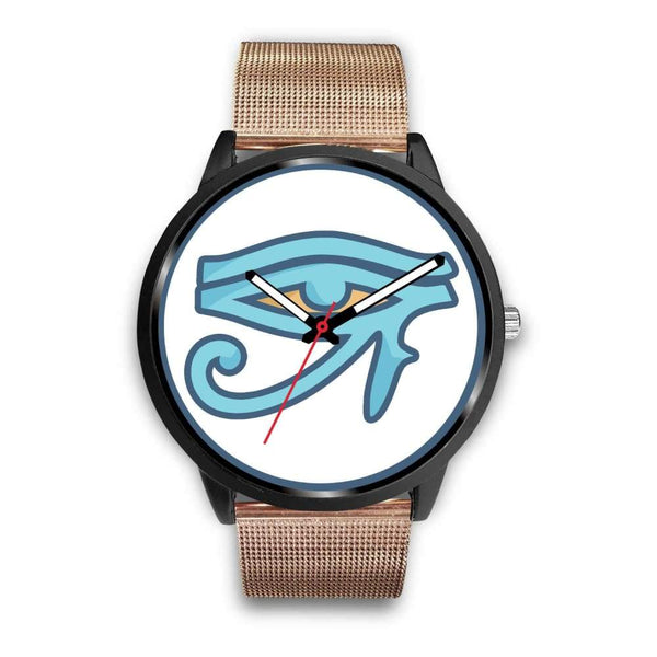 Eye Of Ra Ancient Egyptian Symbol Custom-Designed Wrist Watch - Mens 40Mm / Rose Gold Metal Mesh - Black Watch