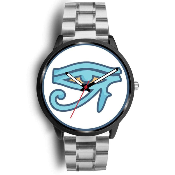 Eye Of Ra Ancient Egyptian Symbol Custom-Designed Wrist Watch - Mens 40Mm / Silver Metal Link - Black Watch
