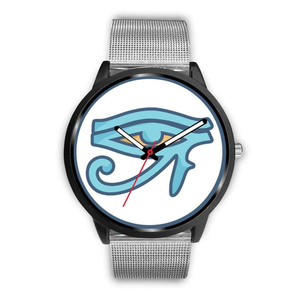 Eye Of Ra Ancient Egyptian Symbol Custom-Designed Wrist Watch - Mens 40Mm / Silver Metal Mesh - Black Watch