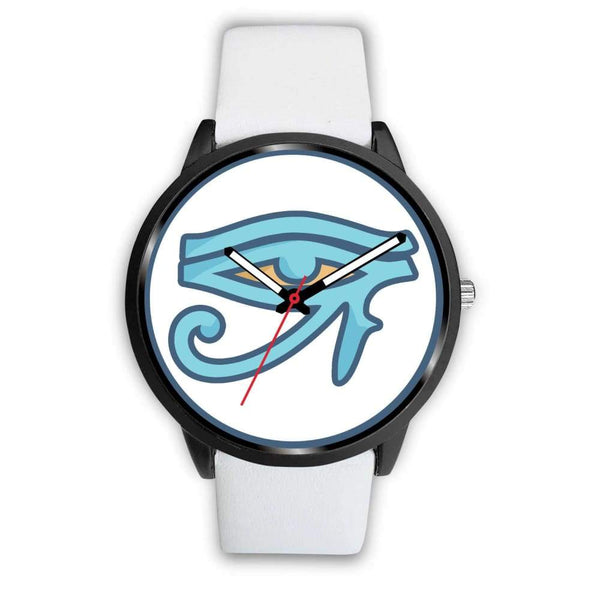 Eye Of Ra Ancient Egyptian Symbol Custom-Designed Wrist Watch - Mens 40Mm / White Leather - Black Watch