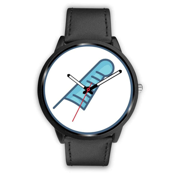 Feather Of Maat Ancient Egyptian Symbol Custom-Designed Wrist Watch - Mens 40Mm / Black Leather - Black Watch