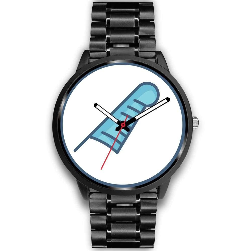 Feather Of Maat Ancient Egyptian Symbol Custom-Designed Wrist Watch - Mens 40Mm / Black Metal Link - Black Watch