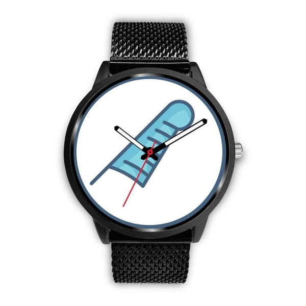 Feather Of Maat Ancient Egyptian Symbol Custom-Designed Wrist Watch - Mens 40Mm / Black Metal Mesh - Black Watch