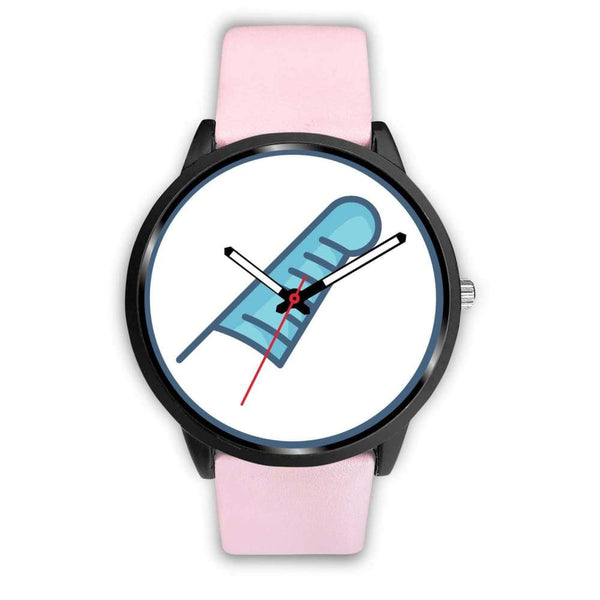 Feather Of Maat Ancient Egyptian Symbol Custom-Designed Wrist Watch - Mens 40Mm / Pink Leather - Black Watch