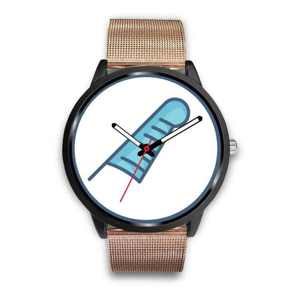 Feather Of Maat Ancient Egyptian Symbol Custom-Designed Wrist Watch - Mens 40Mm / Rose Gold Metal Mesh - Black Watch