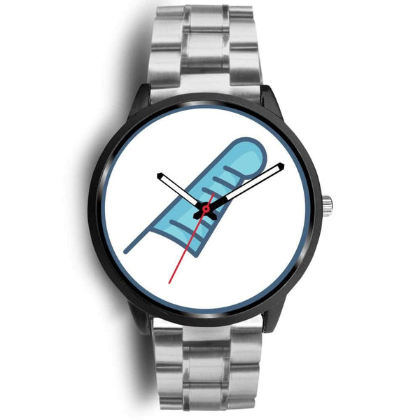 Feather Of Maat Ancient Egyptian Symbol Custom-Designed Wrist Watch - Mens 40Mm / Silver Metal Link - Black Watch