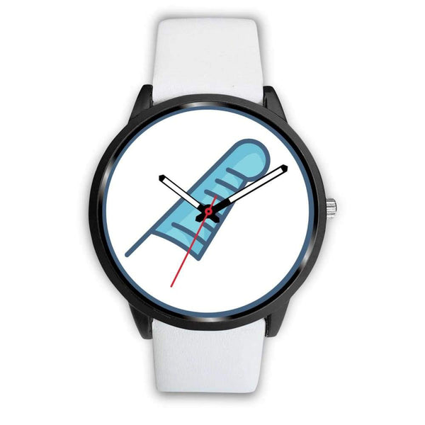 Feather Of Maat Ancient Egyptian Symbol Custom-Designed Wrist Watch - Mens 40Mm / White Leather - Black Watch