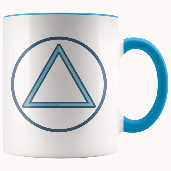 Fire Element Alchemy Wiccan Spiritual Symbol 11Oz. Ceramic White Mug - Blue - Drinkware
