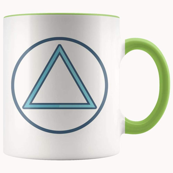 Fire Element Alchemy Wiccan Spiritual Symbol 11Oz. Ceramic White Mug - Green - Drinkware