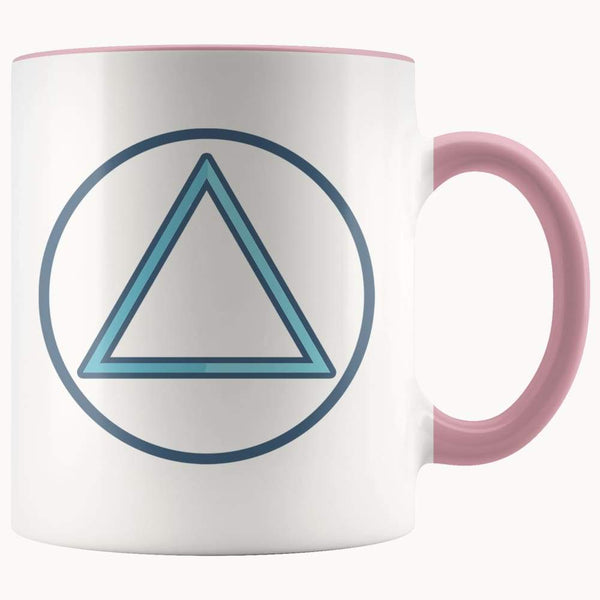 Fire Element Alchemy Wiccan Spiritual Symbol 11Oz. Ceramic White Mug - Pink - Drinkware