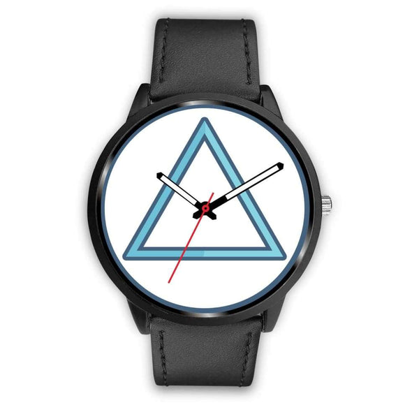 Fire Element Alchemy Wiccan Symbol Custom-Designed Wrist Watch - Mens 40Mm / Black Leather - Black Watch