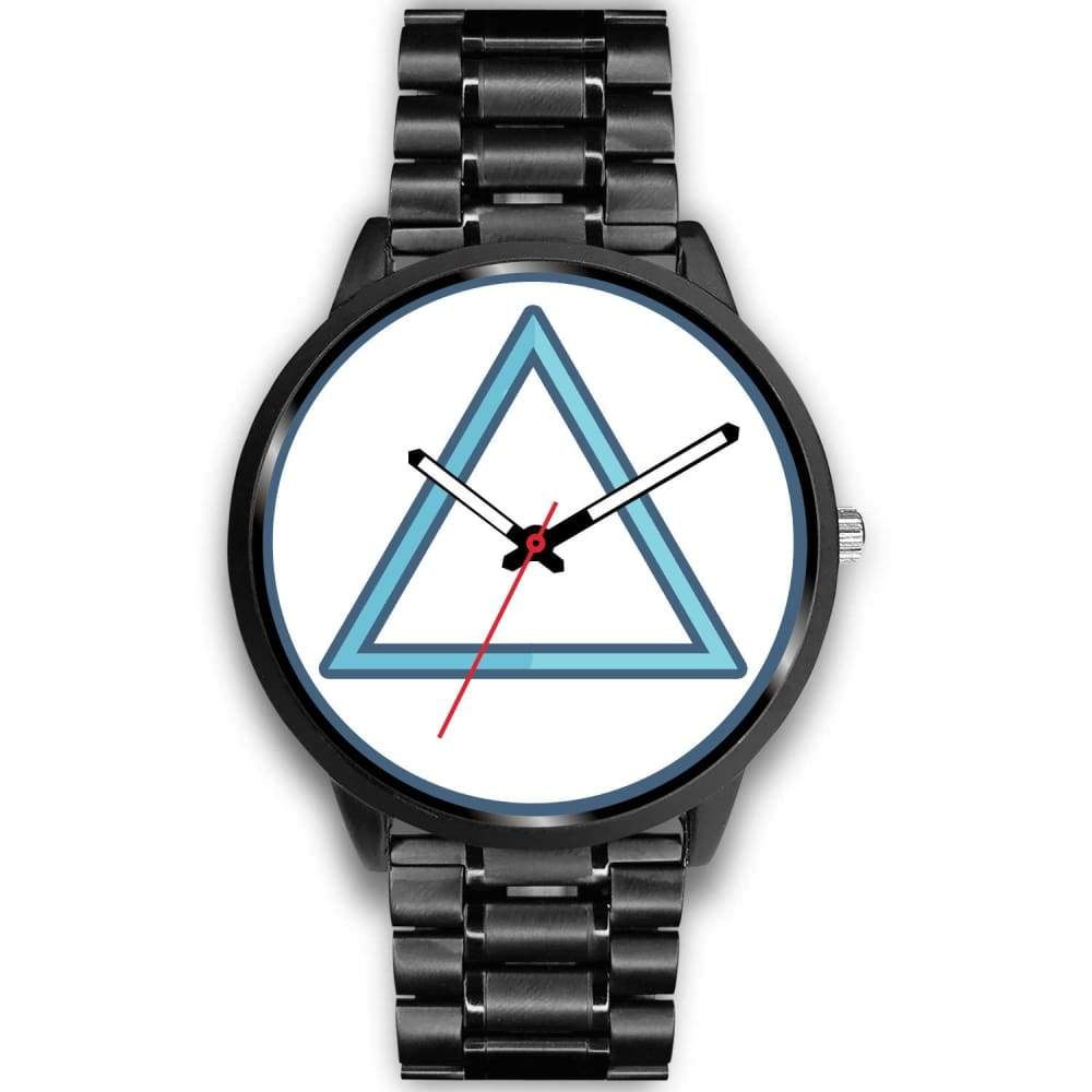 Fire Element Alchemy Wiccan Symbol Custom-Designed Wrist Watch - Mens 40Mm / Black Metal Link - Black Watch