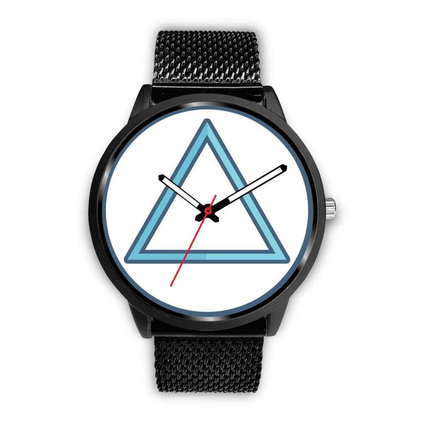 Fire Element Alchemy Wiccan Symbol Custom-Designed Wrist Watch - Mens 40Mm / Black Metal Mesh - Black Watch