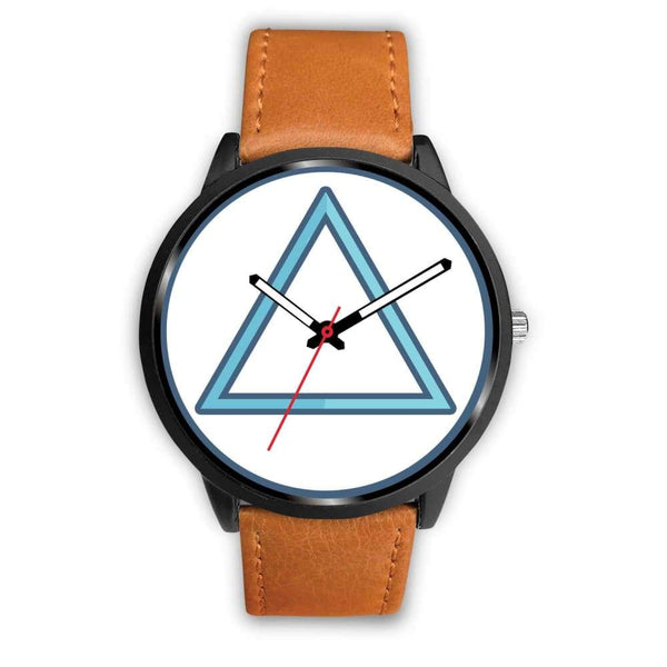 Fire Element Alchemy Wiccan Symbol Custom-Designed Wrist Watch - Mens 40Mm / Brown Leather - Black Watch