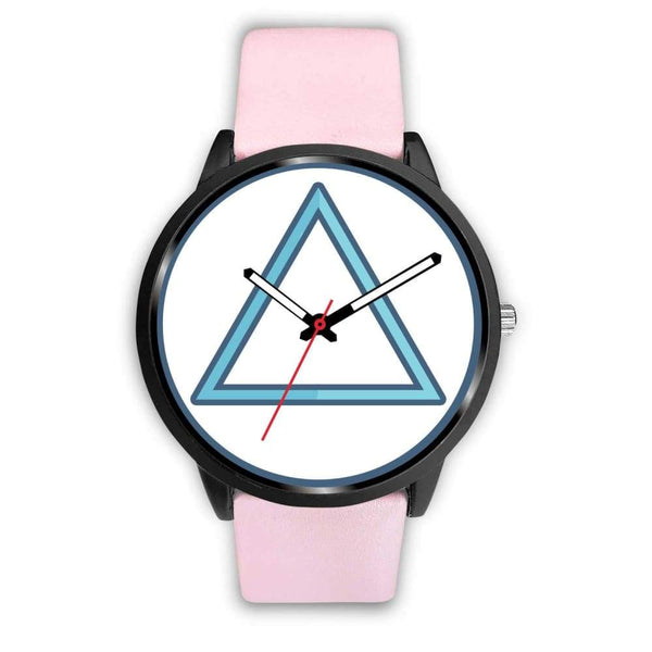 Fire Element Alchemy Wiccan Symbol Custom-Designed Wrist Watch - Mens 40Mm / Pink Leather - Black Watch