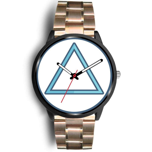 Fire Element Alchemy Wiccan Symbol Custom-Designed Wrist Watch - Mens 40Mm / Rose Gold Metal Link - Black Watch