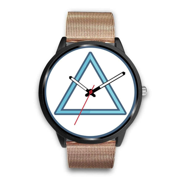 Fire Element Alchemy Wiccan Symbol Custom-Designed Wrist Watch - Mens 40Mm / Rose Gold Metal Mesh - Black Watch