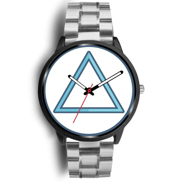 Fire Element Alchemy Wiccan Symbol Custom-Designed Wrist Watch - Mens 40Mm / Silver Metal Link - Black Watch