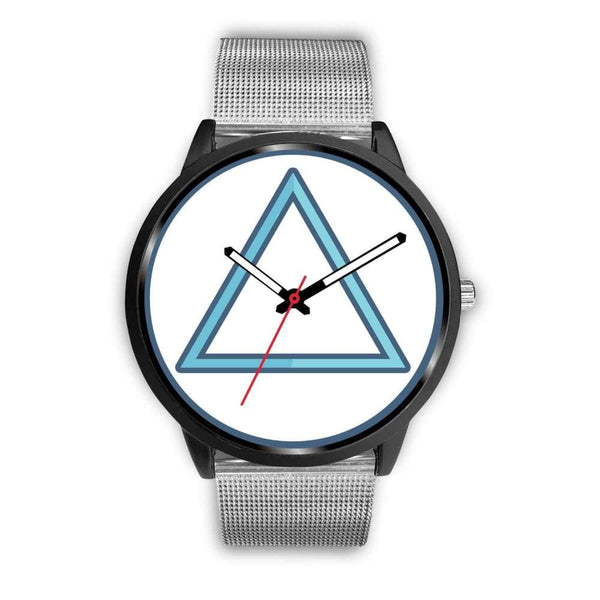 Fire Element Alchemy Wiccan Symbol Custom-Designed Wrist Watch - Mens 40Mm / Silver Metal Mesh - Black Watch