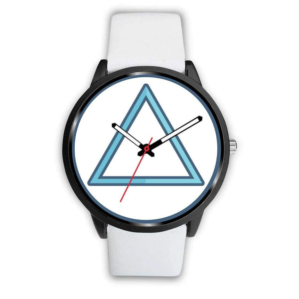 Fire Element Alchemy Wiccan Symbol Custom-Designed Wrist Watch - Mens 40Mm / White Leather - Black Watch