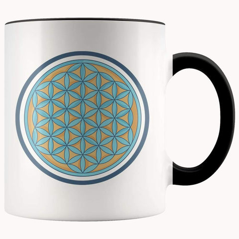 Flower Of Life Buddhist Spiritual Pagan Symbol 11Oz. Ceramic White Mug - Black - Drinkware