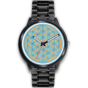 Flower Of Life Wiccan Pagan Symbol Custom-Designed Wrist Watch - Mens 40Mm / Black Metal Link - Black Watch