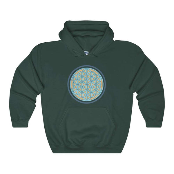 Flower Of Life Wiccan Pagan Symbol Unisex Heavy Blend Hooded Sweatshirt - Forest Green / S - Hoodie