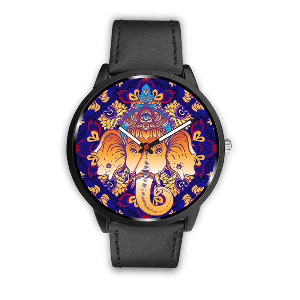 Ganesha Design. Ganesh Hindu / Buddhist Pattern Custom-Designed Wrist Watch - Mens 40Mm / Black - Watch