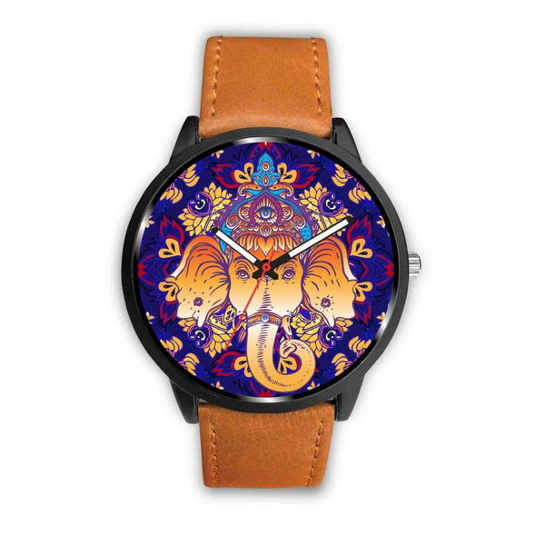Ganesha Design. Ganesh Hindu / Buddhist Pattern Custom-Designed Wrist Watch - Mens 40Mm / Brown - Watch