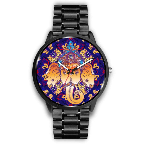Ganesha Design. Ganesh Hindu / Buddhist Pattern Custom-Designed Wrist Watch - Mens 40Mm / Metal Link - Watch