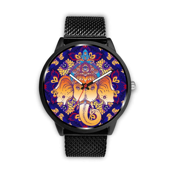 Ganesha Design. Ganesh Hindu / Buddhist Pattern Custom-Designed Wrist Watch - Mens 40Mm / Metal Mesh - Watch