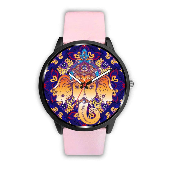 Ganesha Design. Ganesh Hindu / Buddhist Pattern Custom-Designed Wrist Watch - Mens 40Mm / Pink - Watch