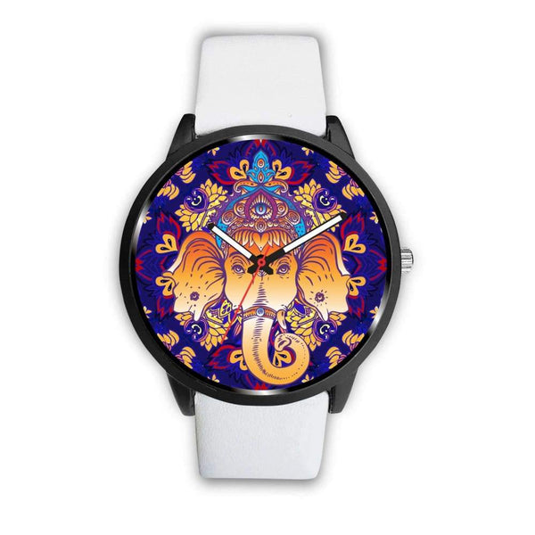 Ganesha Design. Ganesh Hindu / Buddhist Pattern Custom-Designed Wrist Watch - Mens 40Mm / White - Watch