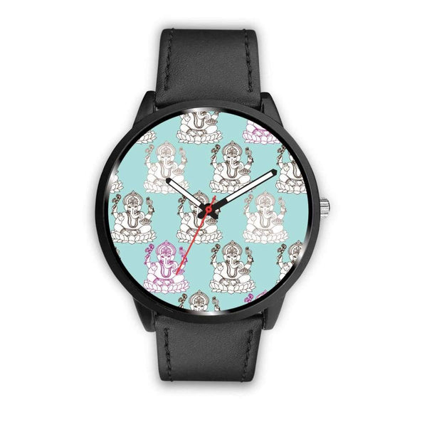Ganesha Design Ganesh Hindu / Buddhist Repeated Pattern Custom-Designed Wrist Watch - Mens 40Mm / Black - Watch