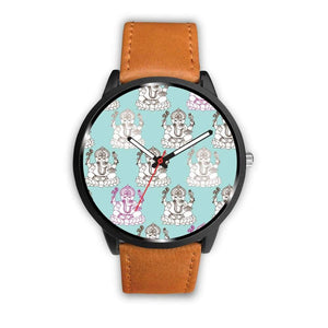 Ganesha Design Ganesh Hindu / Buddhist Repeated Pattern Custom-Designed Wrist Watch - Mens 40Mm / Brown - Watch