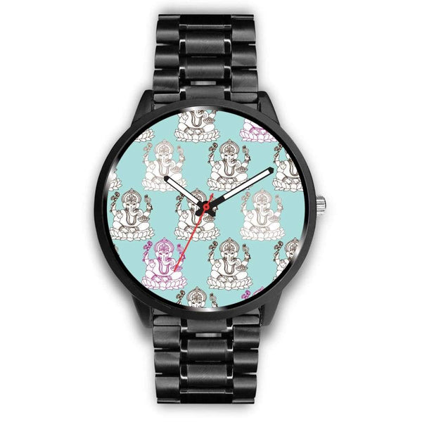 Ganesha Design Ganesh Hindu / Buddhist Repeated Pattern Custom-Designed Wrist Watch - Mens 40Mm / Metal Link - Watch