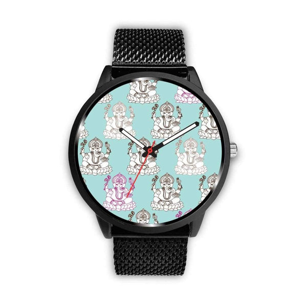 Ganesha Design Ganesh Hindu / Buddhist Repeated Pattern Custom-Designed Wrist Watch - Mens 40Mm / Metal Mesh - Watch
