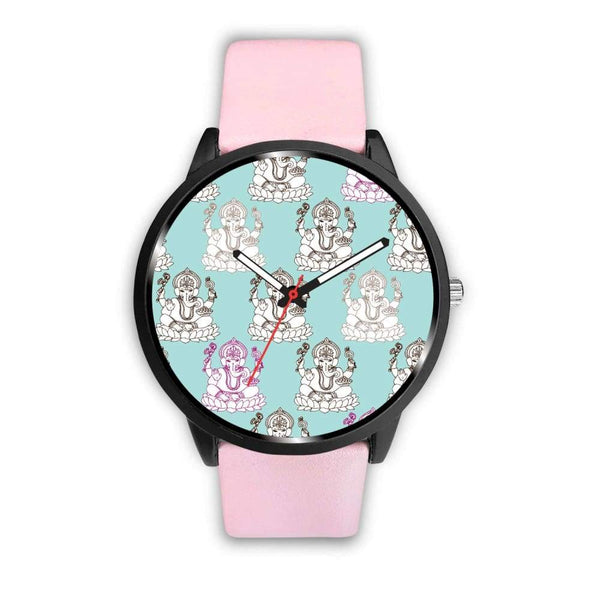Ganesha Design Ganesh Hindu / Buddhist Repeated Pattern Custom-Designed Wrist Watch - Mens 40Mm / Pink - Watch