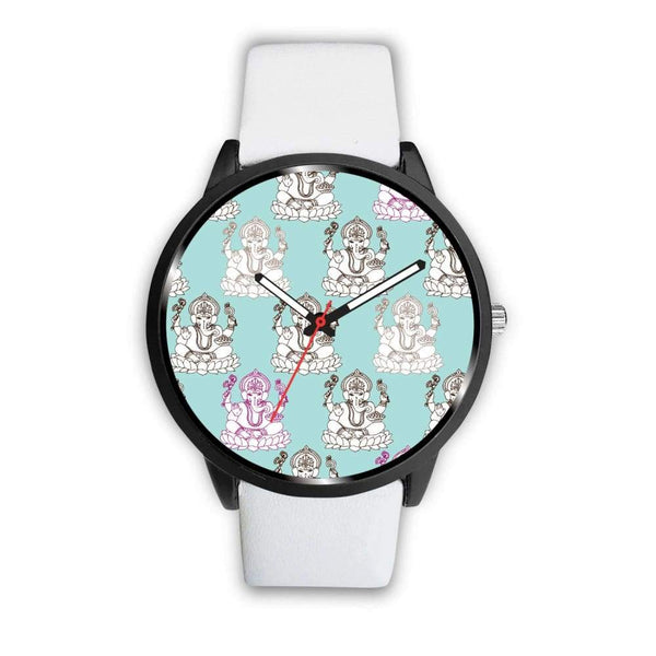 Ganesha Design Ganesh Hindu / Buddhist Repeated Pattern Custom-Designed Wrist Watch - Mens 40Mm / White - Watch